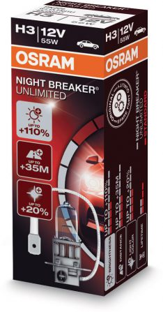 koplamp 12V 55W H3 NIGHT BREAKER UNLIMITED