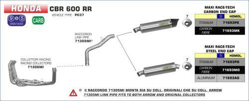 ARROW LINK PIPE AR 71305MI HONDA CBR 600RR '05-'06