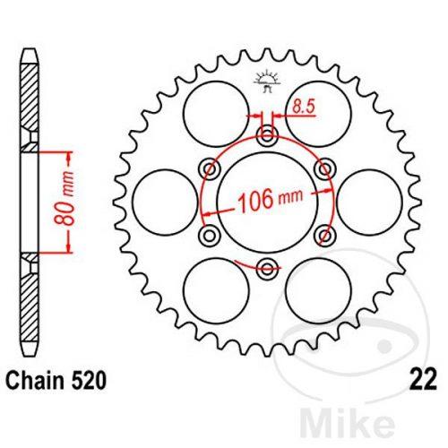JT REAR 520 STEEL SPROCKET 45 T