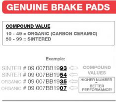07BB0258 BRAKE PADS SINTER GENUINE