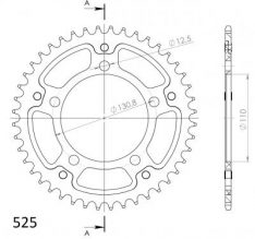 SPROCKET REAR ALU 44T BLACK 525