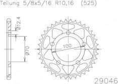 SPROCKET REAR STEEL 44T 525