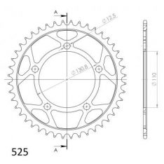 SPROCKET REAR STEEL 44T BLACK 525